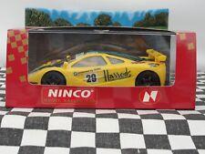 """Ninco McLaren F1 GTR """"HARRODS's Jaune #29 50130 Slot Entièrement neuf dans sa boîte"""
