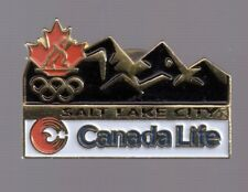 2002 Canada Life Salt Lake City Olympic Pin Maple Leaf Rings NOC Mountains