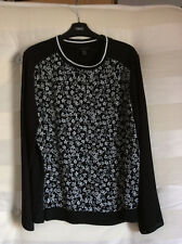 PRIMARK Black Long Sleeved Top With Floral Front Size 18 BNWOT