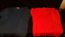 2 Jones New York pullover top shirts semi-sheer stretch Womens XL Coral, Blue