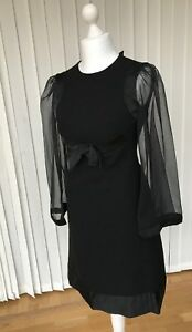 True Vintage 70s Custom Made Black Cocktail Dress Knee Length Evening Party S 10