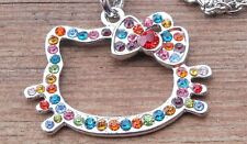 ღƸ̵̡Ӝ̵̨̄Ʒღ Hello Kitty Kette + Kitty Anhänger Strass weiß bunt Steine / NEU