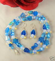 Blue Glass Beaded Necklace Earrings Set Lot CAT RESCUE