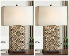 TWO GOLDEN BRONZE EMBOSSED TABLE LAMPS SILVER BLACK ACCENTS MODERN TUSCAN LIGHT