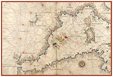 Western Mediterranean Sea Spain Mallorca Nautical map Battista Agnese ca.1544