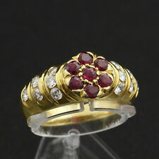 Brillant Rubin Ring ca. 0,89 ct. 750/- Gelbgold