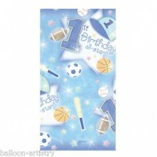"""54"""" x 102"""" Boy's Blue 1st Birthday All-Star Table cover Decoration"""