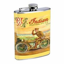 INDIAN MOTORCYCLE 1914 VINTAGE IMAGE STAINLESS STEEL 8oz FLASK D289