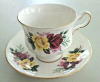 QUEEN ANNE Bone China ENGLAND Yellow Red Rose Gold Trim Pedestal TEACUP & SAUCER