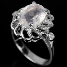 Natural ROSE QUARTZ Birthstone & CUBIC ZIRCONIA 925 STERLING SILVER RING S6.0