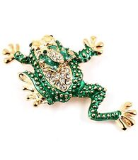 New Gold Tone Green Enamel Crystal Mother Baby Frog Brooch in Gift Box
