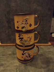 Disneyland Paris Enamelled Mugs Mickey Minnie Goofy Jam
