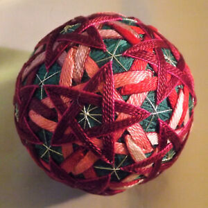 Japanese Temari Ball flower Pinks on Pinks with Teal base valentine gift