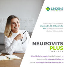 Neurovits Plus Vitamin B1, B6, B12, Folic Acid 90 Tablets Lindens Vegan UK Made