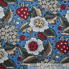 BonEful Fabric FQ Cotton Quilt Blue White Red Country Flower Garden Shabby Chic