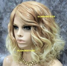 Human Hair Blend Hand Tied Monofilament Lace Front Full Wig Bob Medium Blonde
