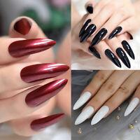 24pcs Fake Nails Art Tips Nail False Sharp Extra Long Full Cover Manicure Decor