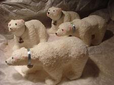 Vtg 4 Polar Bear Xmas Decorations Figurines Plastic Coating Fur-Look Snow Coatin