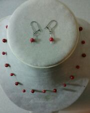 """Genuine Red Illusion Pearl Necklace w Earrings SET 16-17"""" Coral crimson scarlet"""