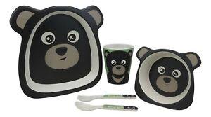 Black Bear 5 Piece Organic Bamboo Dinnerware Set For Kids Children Toddler Baby