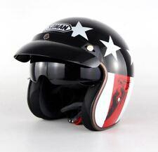 New Motorcycle Half Helmet Cruiser 3/4 Open Face Scooter  Vintage DOT + Visors