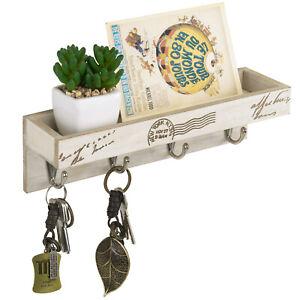 Vintage Beige Wood Wall Mounted Mail Holder Shelf Rack with 4 Key Hooks