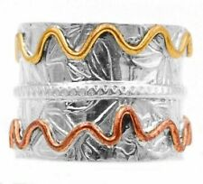 Three Tone- Meditation Spinner 925 Sterling Silver Band Ring , Sz 7 JH3-6