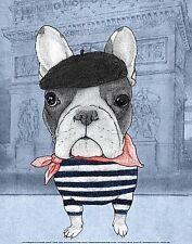 DOG ART PRINT French Bulldog with Arc de Triomphe Barruf
