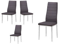 Modern Design 4-pcs Set Gray Leather Side Chairs Dining Room Dining Chairs