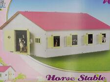 Holz Pferdestall 1:24 für Schleich Pferde Stall rosa Dach KidsGlobe Pferdeboxen