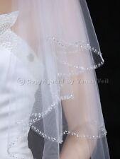 2T White Bridal Elbow Length Scalloped Beaded Edge Wedding Veil