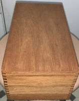 Vintage Large Oak Wooden Index Card File Box DoveTail Box