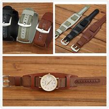 Mens Watch Band 18mm 20mm 22mm 24mm Nylon & Leather Bund Strap Cuff Bangle