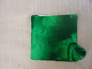40-50 Square Foil Wrappers in Emerald Green for Chocolates & Sweets.80mm x 80mm.