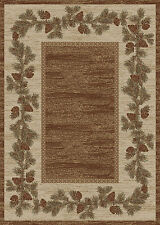 (1) Two-Pack 2x3's Lodge Cabin Rustic Pinecone Brown Area Rugs *FREE SHIPPING*
