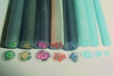 8- Fish and Bubble Set Polymer Clay Canes Nail Art