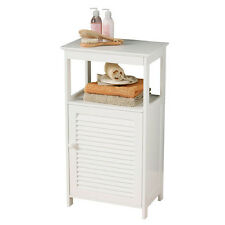Floorstanding Bathroom Storage White Wooden Cabinet MDF Unit With Inner Shelf