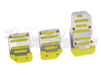 SILVER YELLOW M/T CLUTCH BRAKE GAS PEDAL PADS FOR FOCUS MUSTANG LANCER TRANS AM