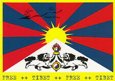 Kunstpostkarte - Tibet Flagge - Tibet National Flag - Free Tibet