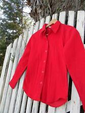 Vintage Womens JC Penney bright Holiday Red corduroy sz 9 blouse top shirt EUC