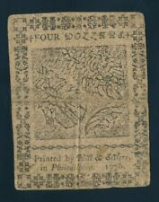 CONTINENTAL CURRENCY FOUR DOLLARS NOTE, FEBRUARY 17, 1776 !!  124