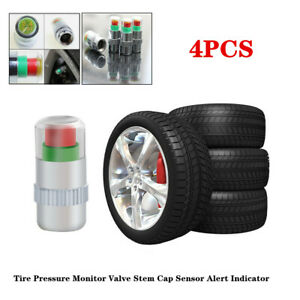 4x 2.4bar Car Bikes Tire Pressure Monitor Valve Stem Cap Sensor Alert Indicator