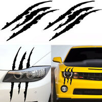 2PCS Scratch Decal Monster claw marks Car Vinyl Decal Eye Catching Sticker Black