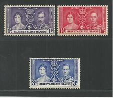 GILBERT & ELLICE # 37-39 MNH CORONATION OF KING GEORGE VI