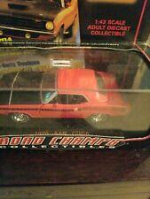 ROAD CHAMPS 1970 AAR CUDA BARRACUDA w DISPLAY CASE 1/43 O Scale RED/BLACK