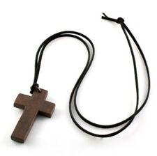Wooden Cross & Leather Necklace Bohemian Religious Jewellery Gift for Him Her UK