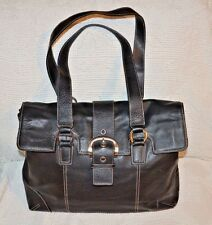 FRANKLIN COVEY Large Black LEATHER PURSE Bag BRIEFCASE laptop shoulder buckle