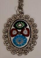 Vintage Silver Tone millifori Costume Necklace