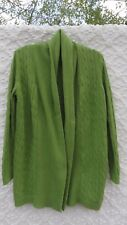 Chico's 2 Sweater Misses L XL Apple Green Linen Cotton Cable Knit Swing Style