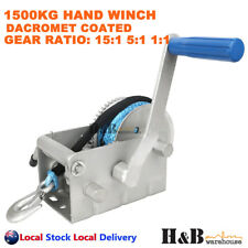 1500 Kg Marine Hand Winch Anti-corrosion Coated 3 Speed 7mm X 8m Winch Rope 4wd